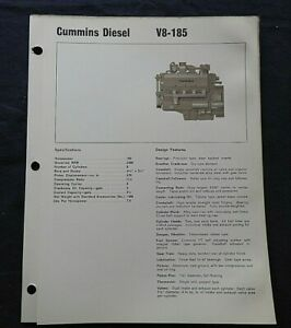 "1966 GENUINE CUMMINS ""V8-185 DIESEL ENGINE"" SPECIFICATION BROCHURE"
