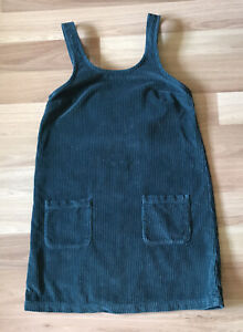FAT FACE Dedee Corduroy Dungaree Pinafore Dress Size UK 8 Bottle Green Pockets