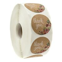 Kraft Floral Thank You Stickers - 1 inch Circle Labels / 500 Per Pack F7T5