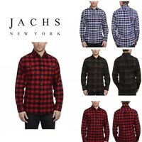 JACHS Men's Brawny Long Sleeve Brushed Cotton Flannel Button Down Shirt