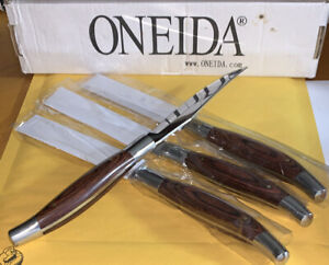 Oneida rustic wood handle steak knives very sharp set of 4