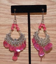 Unbranded Long Silver & Round Pink Sea Shell Dangle Drop Fashion Earrings *READ*