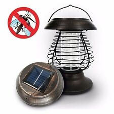 Solar powered LED Insect Killer Mosquito Zapper Bug Fly Outdoor Lamp Light Trap