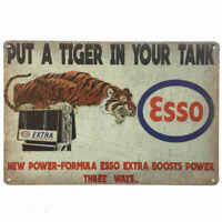 Esso Extra Tin Sign Petrol Oil Tiger in your tank Shed Garage Man Cave 30cmx20cm
