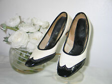 Vintage 1940s Black & White High Heel Shoes -9 1/2 inches long