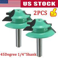 "2Pcs 1/4"" Shank Lock Miter Glue Joint Router Bit 45 Degree Woodwork Cutter Tools"