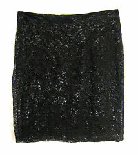 H&M Straight Pencil Skirt Women Size L Black Lace Floral Metallic Zip Back HM