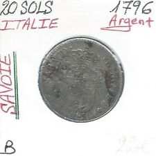 ITALIE - 20 SOLS - 1796 (SAVOIE) Pièce de Monnaie en Argent // Qualité: B