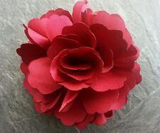 "Girls Women 3"" Silk Rose Flower..Flower Hair Clip, Brooch, corsage Burgundy Red"