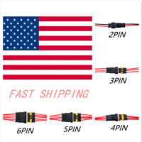 2-10Set2~6Pin  Car Waterproof Male Female Electrical Connector Plug Wire Kit Set