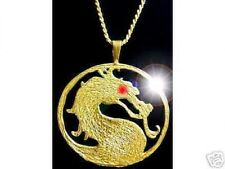 LOOK Mortal Kombat MK9 X shaolin monks Gold plated over silver MK Jewelry Dragon