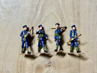 Pewter Lead Hand Painted Lot Of 4 Soldiers Wearing Blue Uniforms No Box