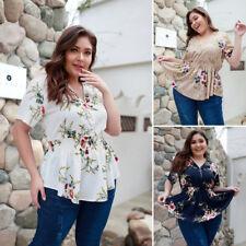 Women Floral Print Tops Spring Summer V-neck Casual Tunic Short Sleeve Shirt New