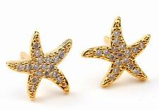 18K Yellow Gold Filled - Chic Starfish Topaz Zircon Women Club Stud Gem Earrings