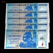 5PCS Rhinoceros Zimbabwe 100 Quintillion Dollars Banknotes Paper Bill Collection