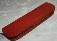 VINTAGE PROTECTIVE CASE (2) FOR FOUNTAIN PEN PENCIL BALLPOINT - RED LEATHER