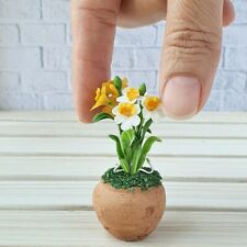 Dollhouse Miniatures Fairy Garden Daffodil Narcissus Flower Mini Tiny Pot Decor