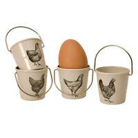 Eierbecher Eimer mit Hühner Design retro vintage creme Bauernhof im 4er Set