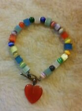 Cat eye square/round toggle bracelet with a cat eye heart