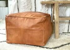 New Moroccan Ottoman Square leather Pouf Footstool Genuine Brown Pouffe Cover