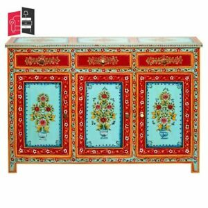 Mughal Hand Painted Solid Wood Buffet Sideboard With 3 Drawers (MADE TO ORDER)