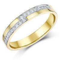 9 Ct Anillo De Oro Amarillo Con Diamante Set 18pt Boda 3mm Anillo Cinta
