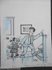 """CLIFFORD C LEWIS """"CLEW"""" Original Pen & Ink Cartoon - Tantrum Daughter # 338"""
