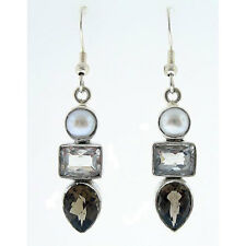 Sterling Silver Smokey Quartz Crystal and Pearl Earrings .925 Silver