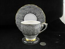 BELL BONE CHINA  BLACK PATTERNED TEA CUP AND SAUCER  4741