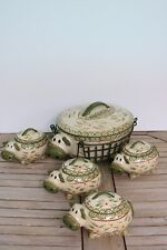 Temptations Old World Green Cow 2.5 qt Covered Casserole Basket 4 Mini Bakers