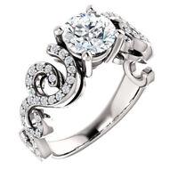 2ct Round Cut Diamond Filigree Solitaire Engagement Ring 14k White Gold Finish