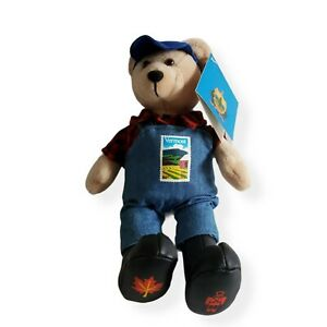 Vermont Stamp Bear in Overalls Plaid Shirt  Boots and Blue Vermont Hat Tags 2005