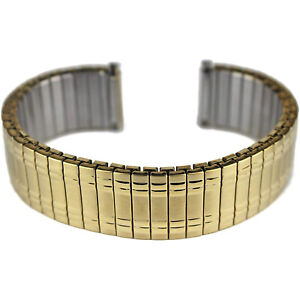 Mens Gold Plated Expanding Stretchy Watch Strap Expandable Bracelet 18 20 22mm