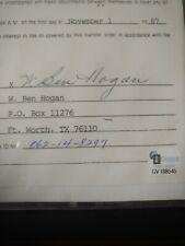 Ben Hogan signed contract 11/1/87