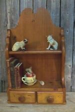 Vintage Rustic Pine Wall Shelf w/ 2 Shelves + 2 Drawers