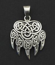 Pendentif Patte d' ours Viking Celte Talisman Païen Argent massif 925 5.5g 26362