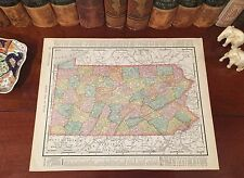 Original 1899 Antique Map PENNSYLVANIA Allentown Erie Reading Pittsburgh York PA
