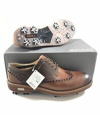 ECCO Mens Golf Lux Soft Spiked Golf Shoes Size 12-12.5 EU 46 Brown Bison Stone