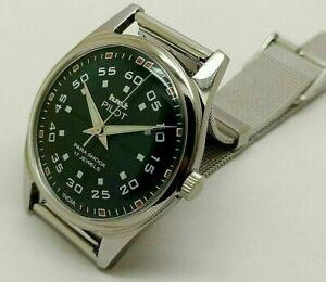 hmt pilot hand winding men's steel green dial vintage japan watch run order