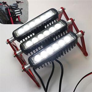 Universal White LED ATV Motorcycle Modified Head Fog Light Red CNC Bracket 90W