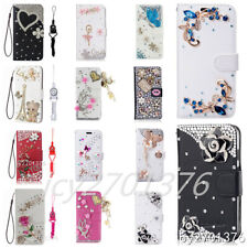 Handmade Bling Diamonds leather stand Wallet Cover Cases & 2 straps For iPhone