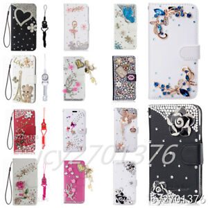NEW Handmade Flip Leather Crystals Wallet Cases Magnetic Phone Covers & 2 straps