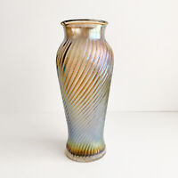VINTAGE Purple IRIDESCENT ART GLASS RIBBED VASE Blown Glass MCM