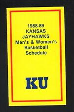 Kansas Jayhawks--1988-89 Basketball Pocket Schedule--American United Life