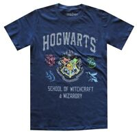 Harry Potter Hogwart's Crest School of Witchcraft Navy Men's T-Shirt New