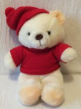 "13"" Plush Vintage Caltoy White Winter Bear Teddy Red Sweater Scarf"