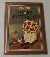 Cadre en bois / marqueterie TINTIN L'étoile mystérieuse 25 x 19 cm