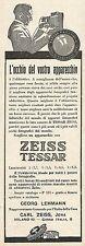 W2221 Obbiettivi fotografici ZEISS TESSAR - Pubblicità del 1926 - Old advert