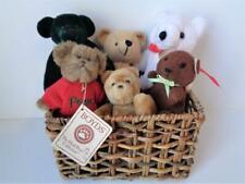 6 Miniature Teddy Bears in Basket Including PEACE a Boyd's Bear Winnie the Pooh