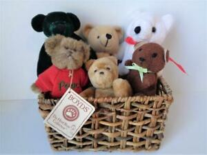 6 Miniature Teddy Bears in Basket Including PEACE a Boyd's Bear Winnie the Pooh